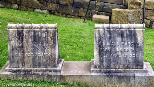 Grave stone of James T. Barclay, and his wife Julia, in the Campbell Cemetery at Bethany, WVA. Photo by Ferrell Jenkins.