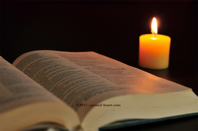 Bible and candle image, NASB